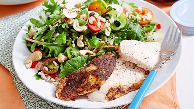 Easy roast chicken with brown rice salad