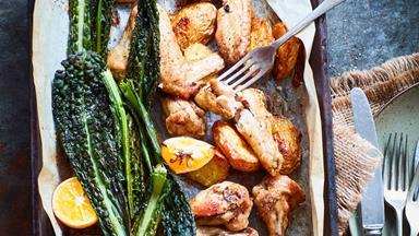 Hayden's roast chicken with potato, kale and lemon