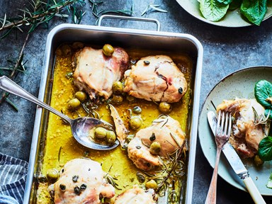Baked chicken thighs with green olives and lemon
