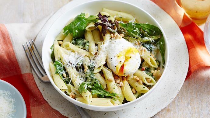 Creamy cheese ends and wilted salad pasta