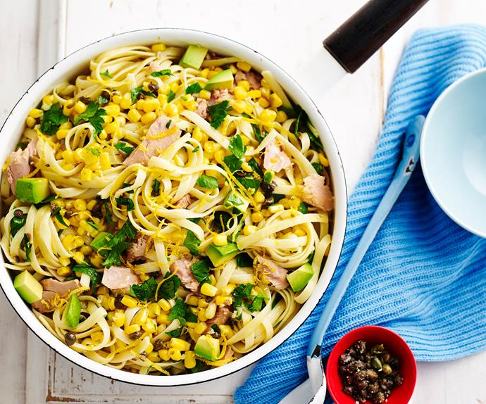 Tuna pasta with corn and avocado