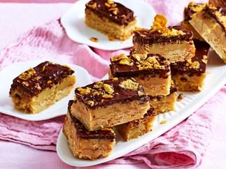 chocolate caramel cornflake slice