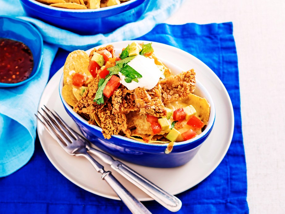 """**[Veal schnitzel nachos](https://www.womensweeklyfood.com.au/recipes/veal-schnitzel-nachos-2532