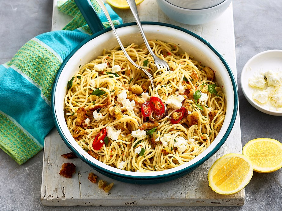 """**[Chilli, lemon and garlic spaghetti](https://www.womensweeklyfood.com.au/recipes/chilli-lemon-and-garlic-spaghetti-2546