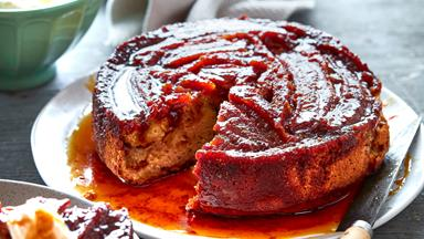 Caramelised banana toffee upside-down cake