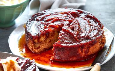 Caramelised banana toffee upside-down cake