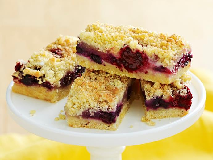 "**[Apple berry crumble slice](https://www.womensweeklyfood.com.au/recipes/apple-berry-crumble-slice-2559|target=""_blank"")**  Served warm with cream or ice-cream, this easy and delicious slice makes one impressive dessert."