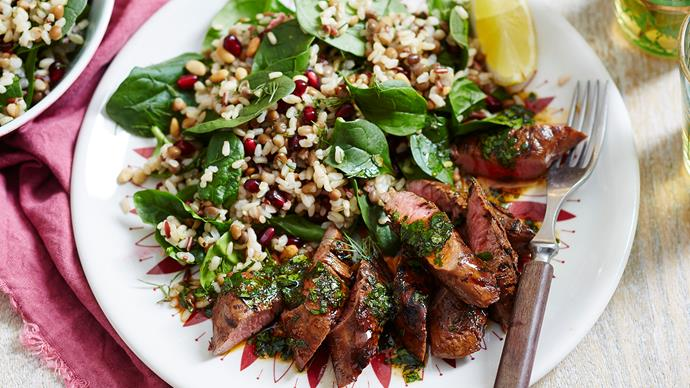 iddle eastern lentil and rice salad with lamb