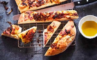 Onion marmalade focaccia-style bread