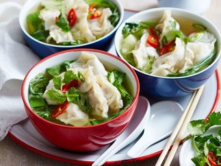 Roast pork dumplings with leftover wilted greens soup