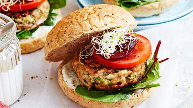 Lamb burgers with courgette, feta and beetroot
