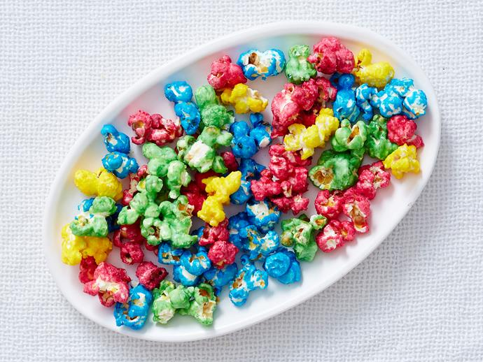 """Delight the kids with this candied [rainbow popcorn](https://www.womensweeklyfood.com.au/recipes/rainbow-popcorn-2589