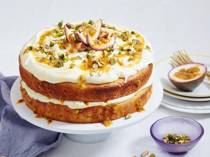 "Bring out this [beautiful layer cake](https://www.womensweeklyfood.com.au/recipes/vanilla-yogurt-and-passionfruit-cake-2597|target=""_blank"") when you want to wow! With thick swirls of creamy yoghurt icing and a drizzle of tropical passionfruit pulp, it's sure to be a crowd-pleaser!"