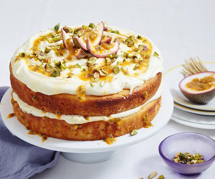 Vanilla yoghurt and passionfruit cake