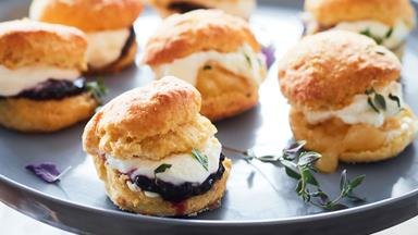 Thyme and fennel scones with blackberry jam and lemon curd