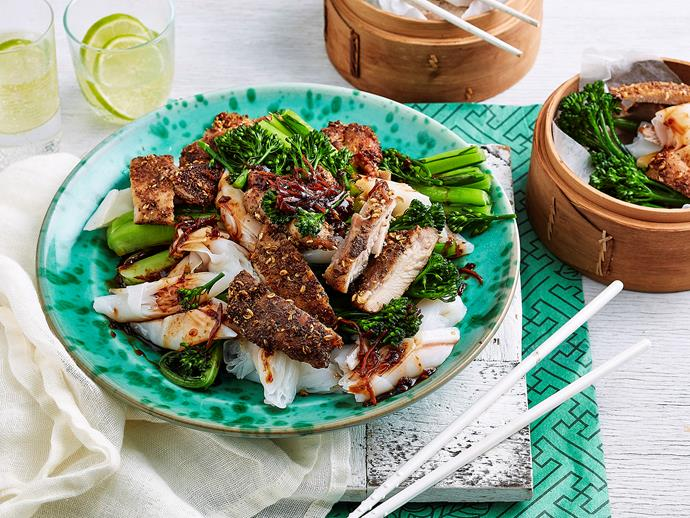 "**[Sichuan chicken with noodles](http://www.foodtolove.com.au/recipes/sichuan-chicken-with-noodles-34367|target=""_blank""):** Complete with rolled rice noodles and healthy Chinese greens, this is a fiery meal sure to spice up dinner time."