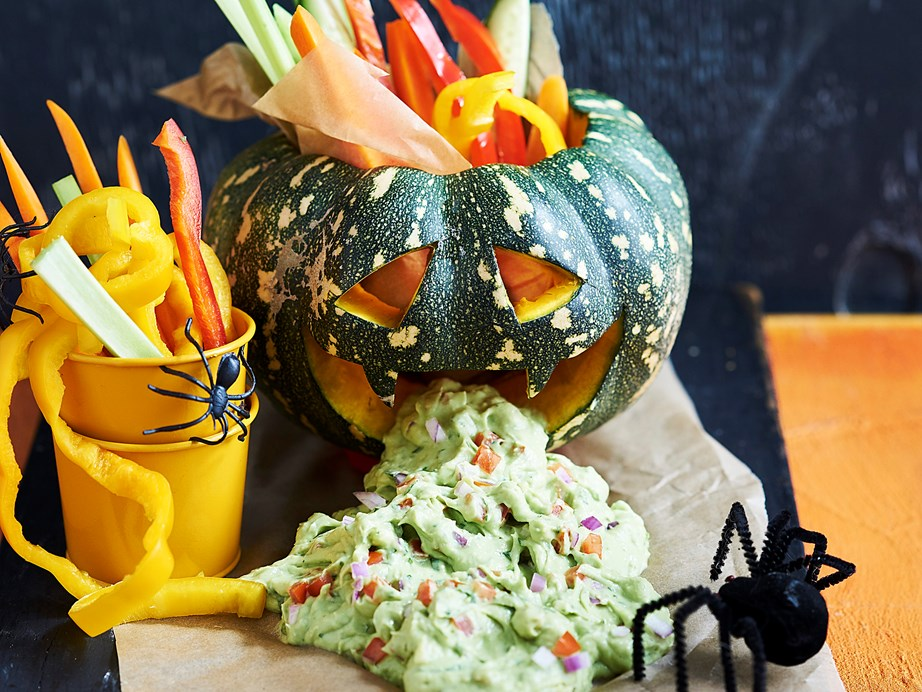 "**[Halloween pumpkin monster with guacamole](https://www.womensweeklyfood.com.au/recipes/halloween-pumpkin-monster-with-guacamole-2629|target=""_blank"")** <br><br> Fill up your little ones with this scary savoury snack before they go out for tricks and too many treats!"
