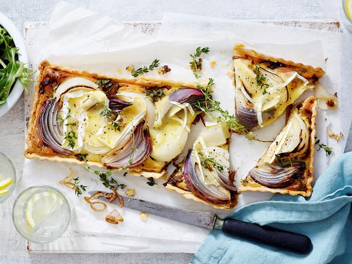 """**[Onion and brie tart](https://www.womensweeklyfood.com.au/recipes/onion-and-brie-tart-2632