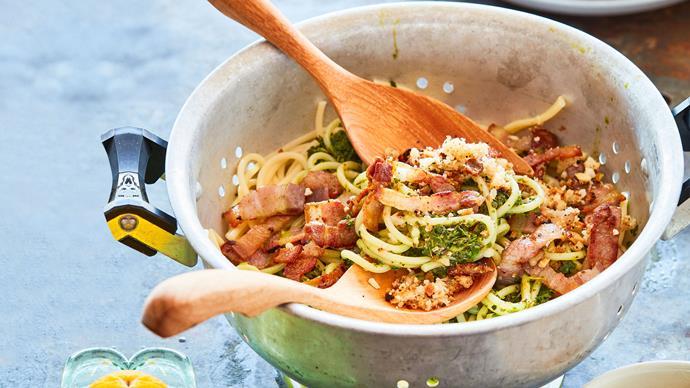 Bacon and kale spaghetti with macadamia and lemon crumbs