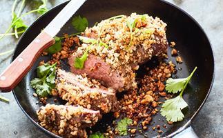 Lamb rumps with dukkah crumbs