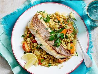 Moroccan fish with fennel and carrot Israeli couscous