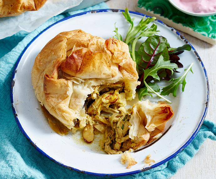 Easy individual Moroccan chicken bastilla pies
