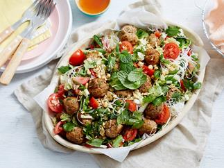 asian pork meatball salad