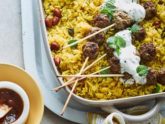 Lemon rice with spiced lamb meatballs