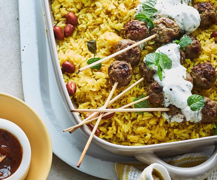 Lemon rice with spiced lamb meatballs