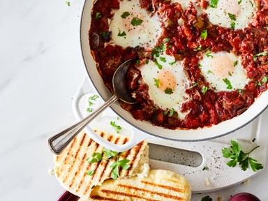 Shakshuka eggs with eggplant
