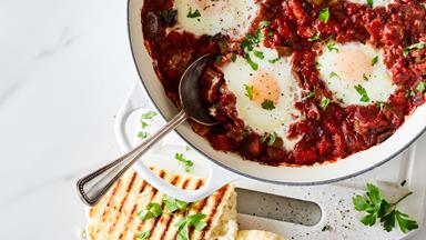 Shakshuka eggs with eggplant