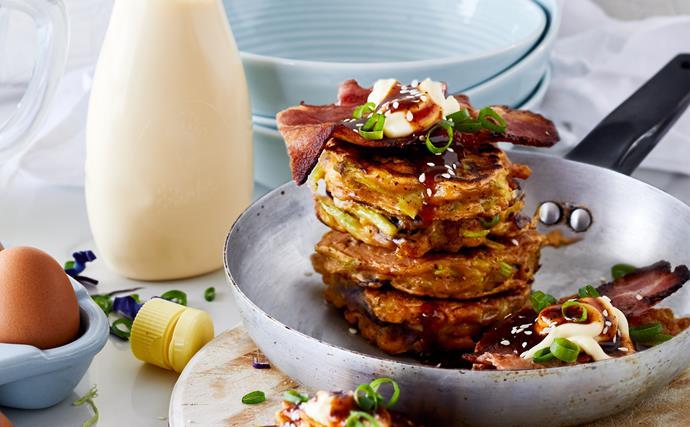 Okonomiyaki with slaw, bacon and tonkatsu