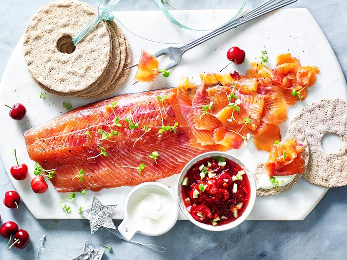 "**[Cherry and ginger gravlax](http://www.womensweeklyfood.com.au/recipes/cherry-and-ginger-gravlax-2662|target=""_blank"")**  There's nothing as eye-catching as a piece of perfectly cured salmon on your dinner spread, and this modern take on the classic is sure to be a hit. You will need to begin this recipe at least 24 hours ahead."