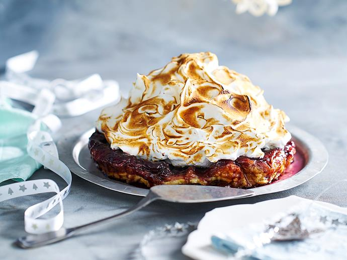 "**[Cherry tarte tatin with meringue](https://www.womensweeklyfood.com.au/recipes/cherry-tarte-tatin-with-meringue-2663|target=""_blank"")**  This show-stopper dessert is a triumph of textures, with buttery crisp pastry, toffeed cherries and a cloud of meringue all coming together for the ultimate tarte tatin."