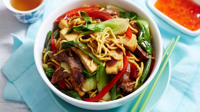 beef and black bean stir fry with noodles