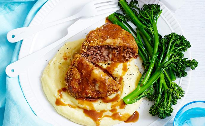Beef patty schnitzel with mash and gravy