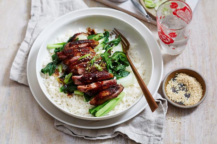 """**[Sticky roast duck breast](https://www.womensweeklyfood.com.au/recipes/sticky-roast-duck-breast-2674 target=""""_blank"""")**  This Chinese-style crispy duck breast is finished off with a sticky, sweet sauce and is served with fluffy rice and steamed greens for a winning family dinner idea."""