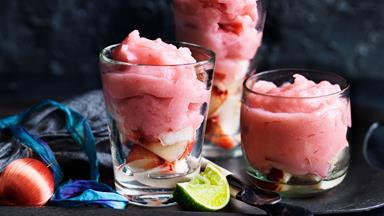 Peach and gin frozen slushie cocktail