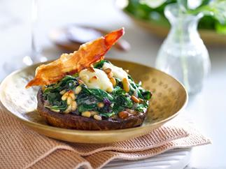 Stuffed mushrooms with spinach, pine nuts and Parma ham shards