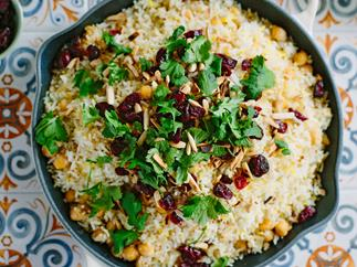 Spiced chickpea, saffron and cranberry pilau rice