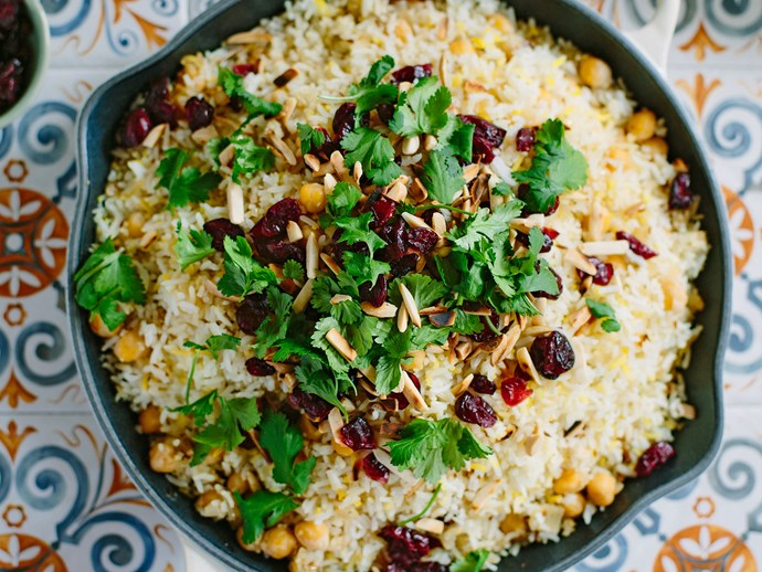 Spiced chickpea, saffron and cranberry pilau rice