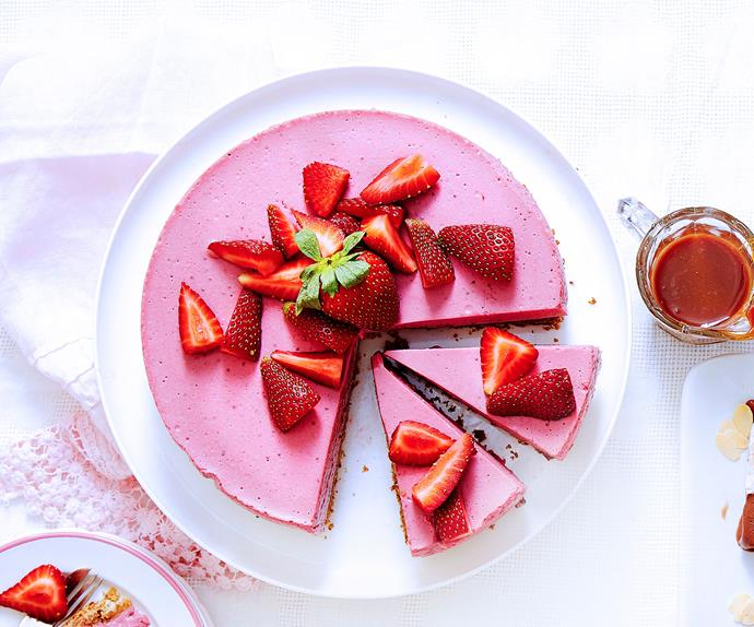 Dairy-free strawberry mousse cake