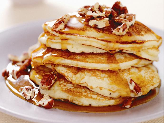 "Spoil the family this weekend with these decadent [banana maple pancakes](https://www.womensweeklyfood.com.au/recipes/banana-maple-pancakes-13176|target=""_blank"")."