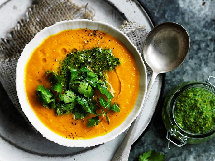 "**[Carrot and lentil soup with coriander pesto](https://www.womensweeklyfood.com.au/recipes/carrot-and-lentil-soup-with-coriander-pesto-2708|target=""_blank"")**  Packed full of nutrients, this hearty and comforting vegan soup from The Australian Women's Weekly's [*Everyday Vegetarian* cookbook](https://www.bauerbooks.com.au/Products/58465/the-australian-womens-weekly-everyday-vegetarian