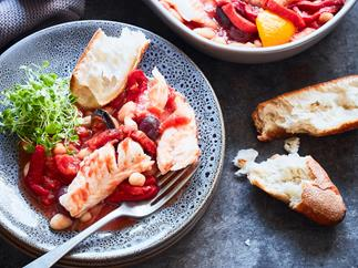 Smoky baked fish stew