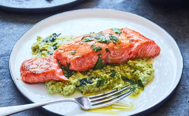 Grilled salmon with pea smash and herby lemon dressing