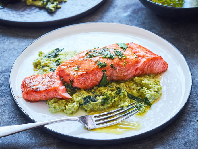 Salmon with pea crush