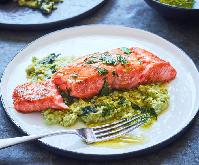 Salmon with pea crush
