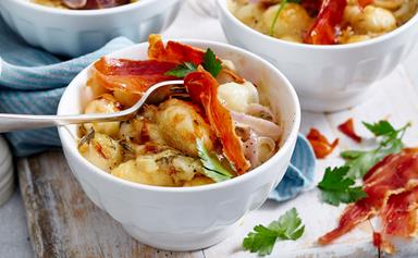 Potato gnocchi and onion gratin