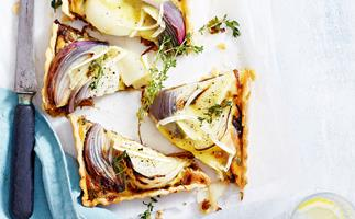 Onion and brie tart